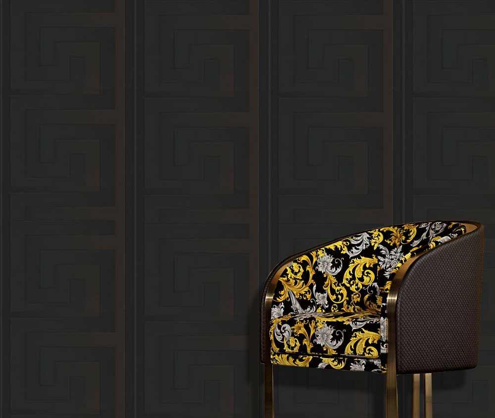 Decorative Wall Paper Trim : Versace wallpaper border gold black luxury satin modern