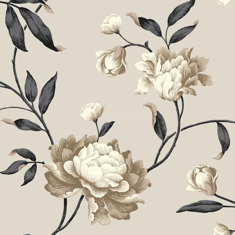 Cream biscuit black floral design georgina style for Cream wallpaper for walls