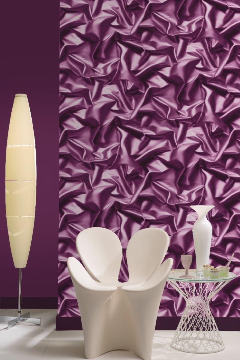 Muriva 3d effect velvet silk fabric purple crushed for 3d wallpaper for walls ebay
