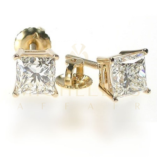ladies diamond stud earrings 1 5 carat princess cut 14k. Black Bedroom Furniture Sets. Home Design Ideas