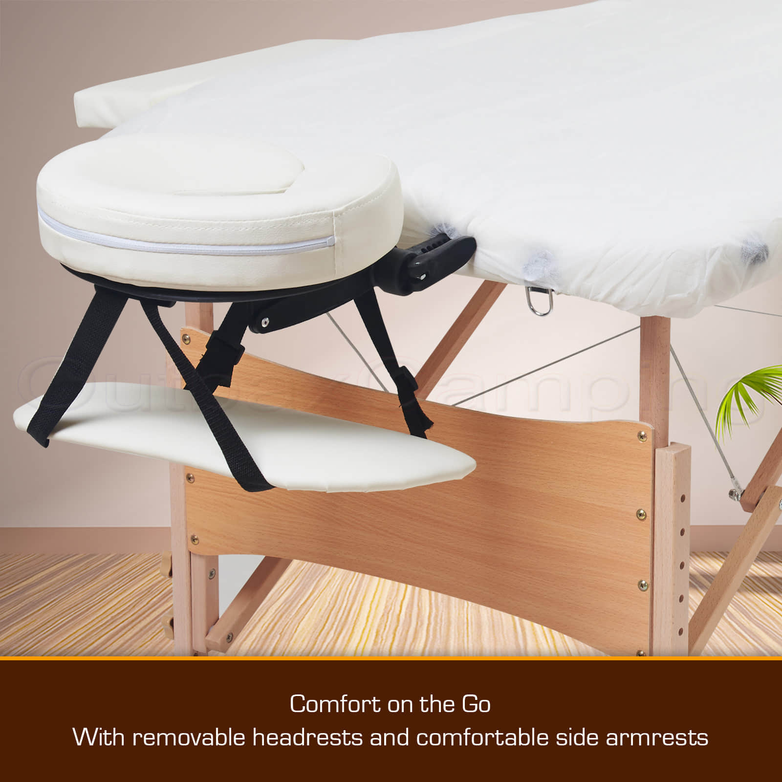 PORTABLE WOODEN MASSAGE BED FOLDING TABLE Beauty Therapy Treatment. Full resolution‎  image, nominally Width 1600 Height 1600 pixels, image with #431E0A.