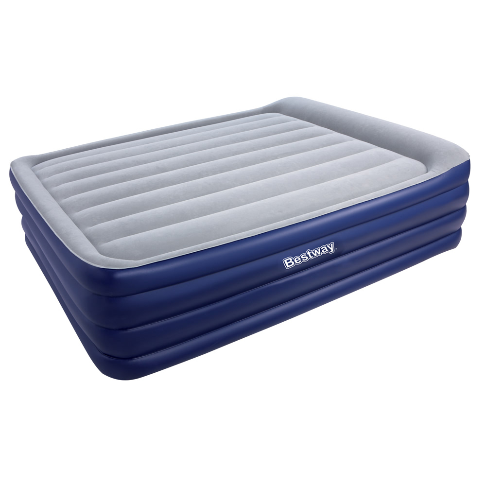 Bestway Queen Inflatable Air Mattress Bed W Air Pump Blue