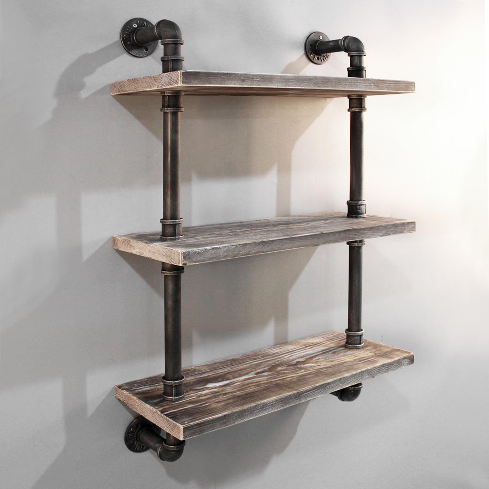 rustic industrial diy floating pipe shelf ebay. Black Bedroom Furniture Sets. Home Design Ideas