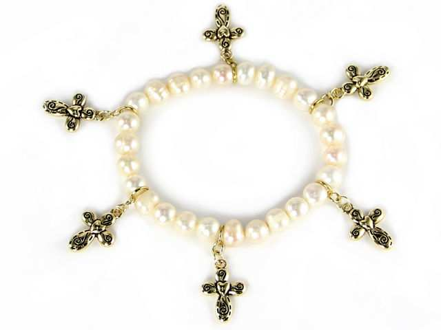 Trendy Silvertone Fresh Water Pearl Stretch Cross Charm Fashion Jewelry Bracelet at Sears.com