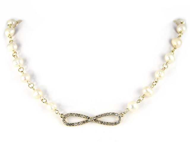 "Trendy Silvertone Fresh Water Pearl 18"" Fashion Jewelry Necklace w/Infinity at Sears.com"