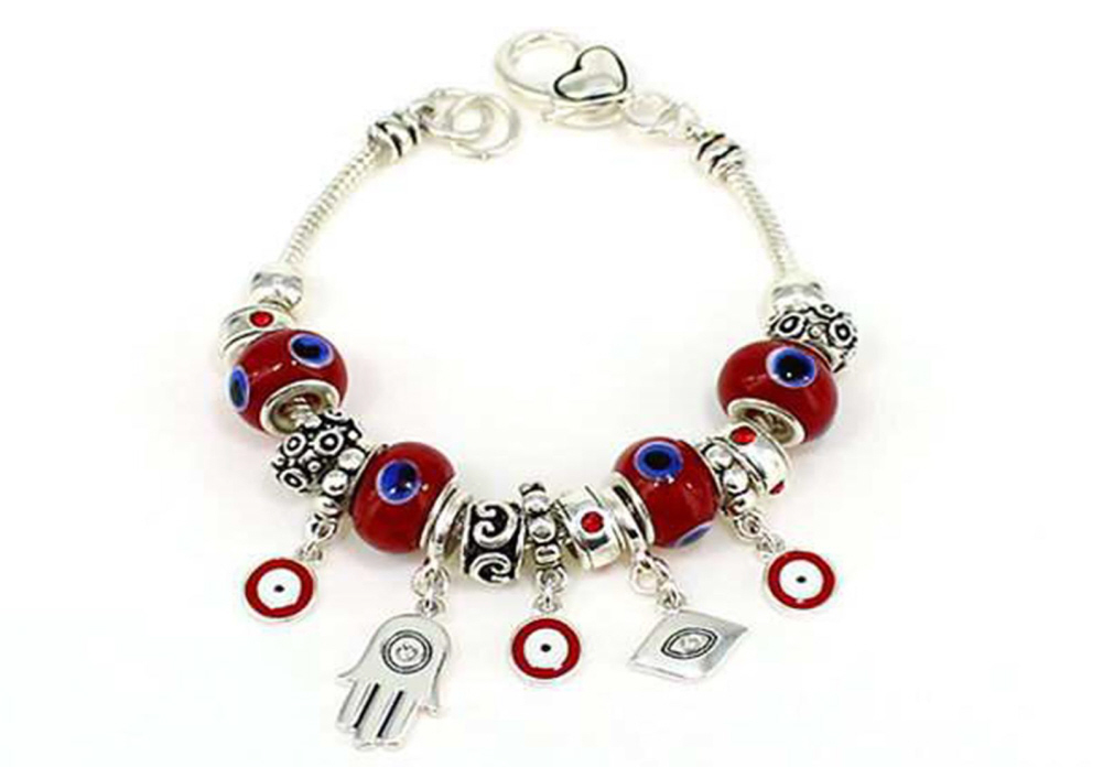 Jewels Silvertone Hamsa & Evil Eye Multi Bead Fashion Jewelry Bracelet at Sears.com