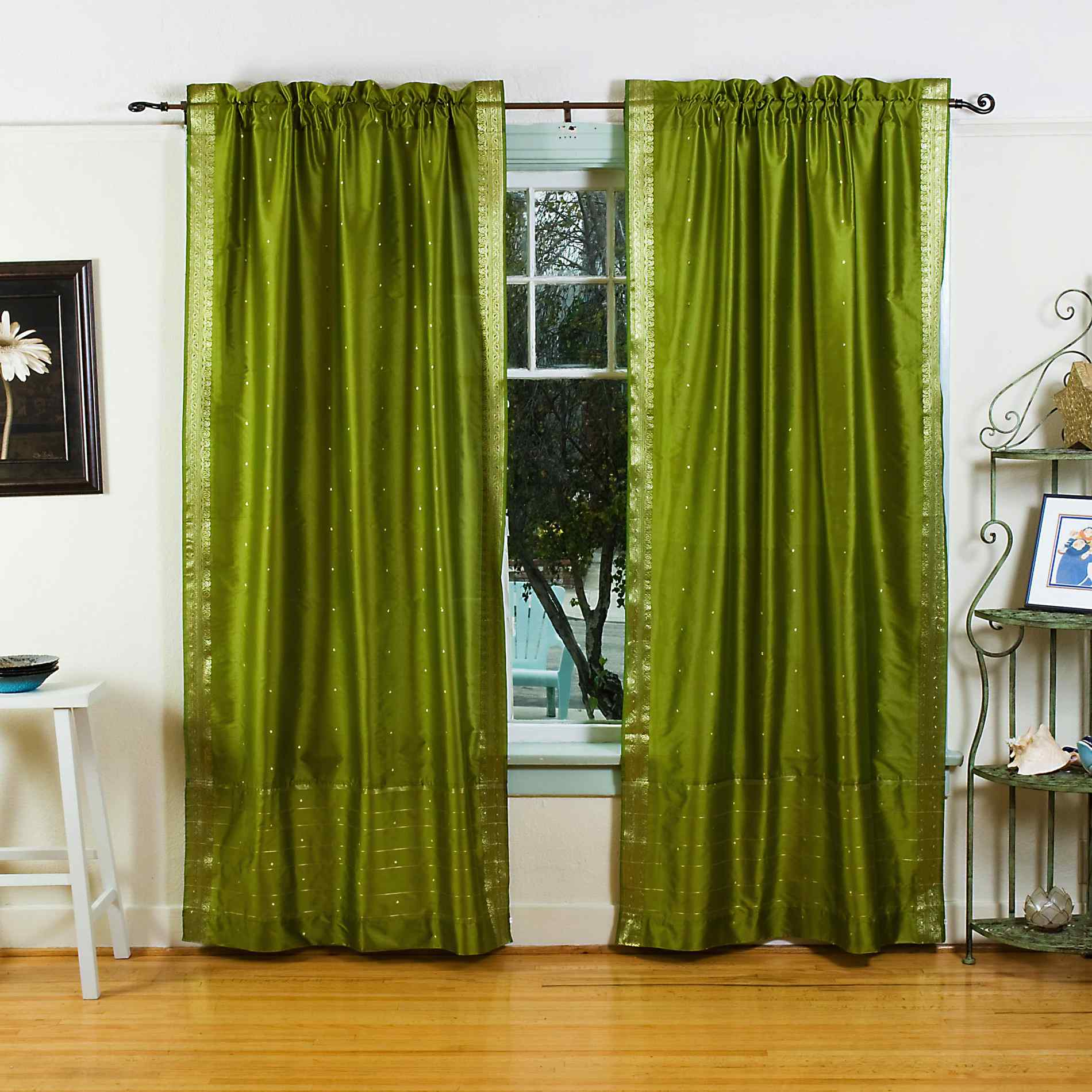Curtains Ideas sheer linen curtains : Olive Green 84-inch Rod Pocket Sheer Sari Curtain Panel (India) - Pair