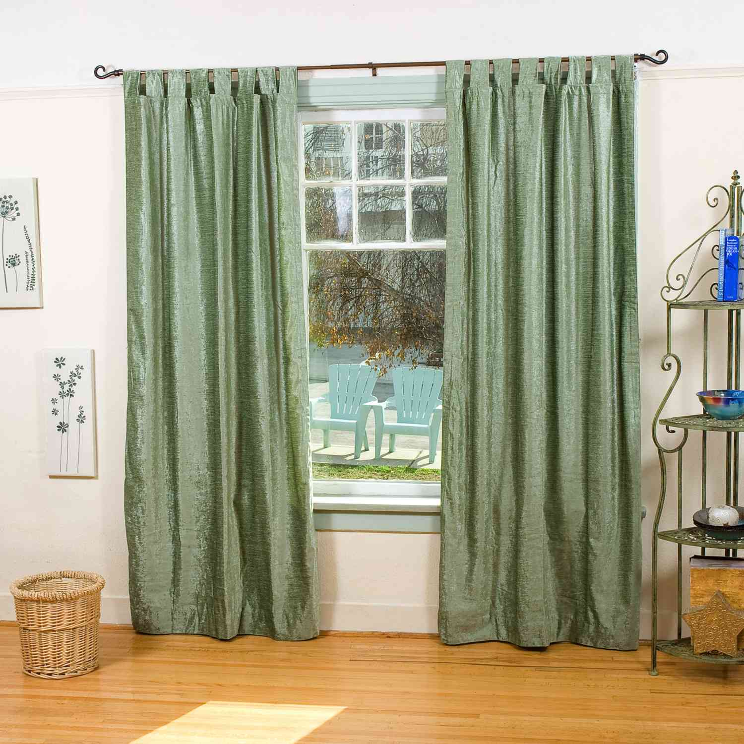 Olive green tab top velvet curtain drape panel piece - Curtains for olive green walls ...