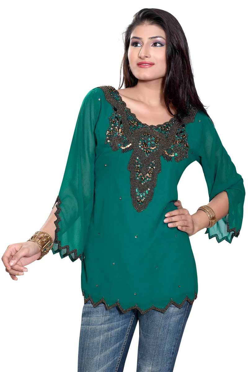 Indian Selections-Green long sleeves KurtiTunic with frontback beadwork-Medium plus size,  plus size fashion plus size appare