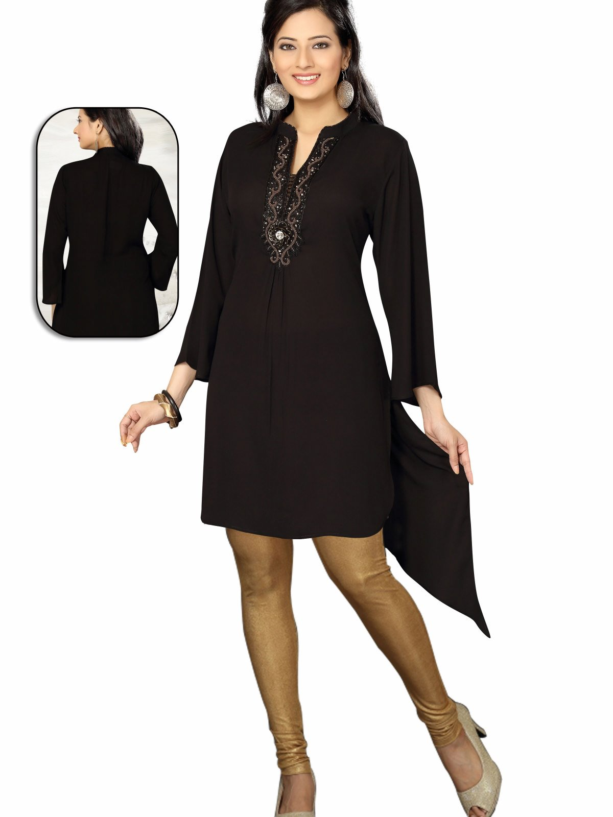 Black 34 Sleeves designer Kurti Tunic (India) with beaded neckline - Medium plus size,  plus size fashion plus size appare