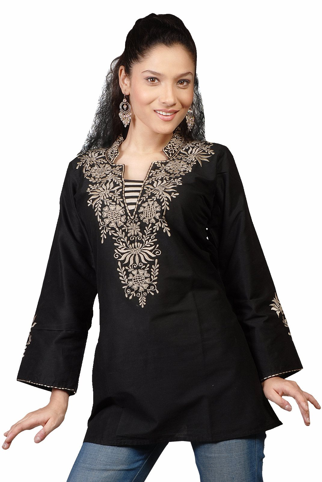 Indian Selections-Black long sleeves KurtiTunic with neckline embroidery-Large plus size,  plus size fashion plus size appare