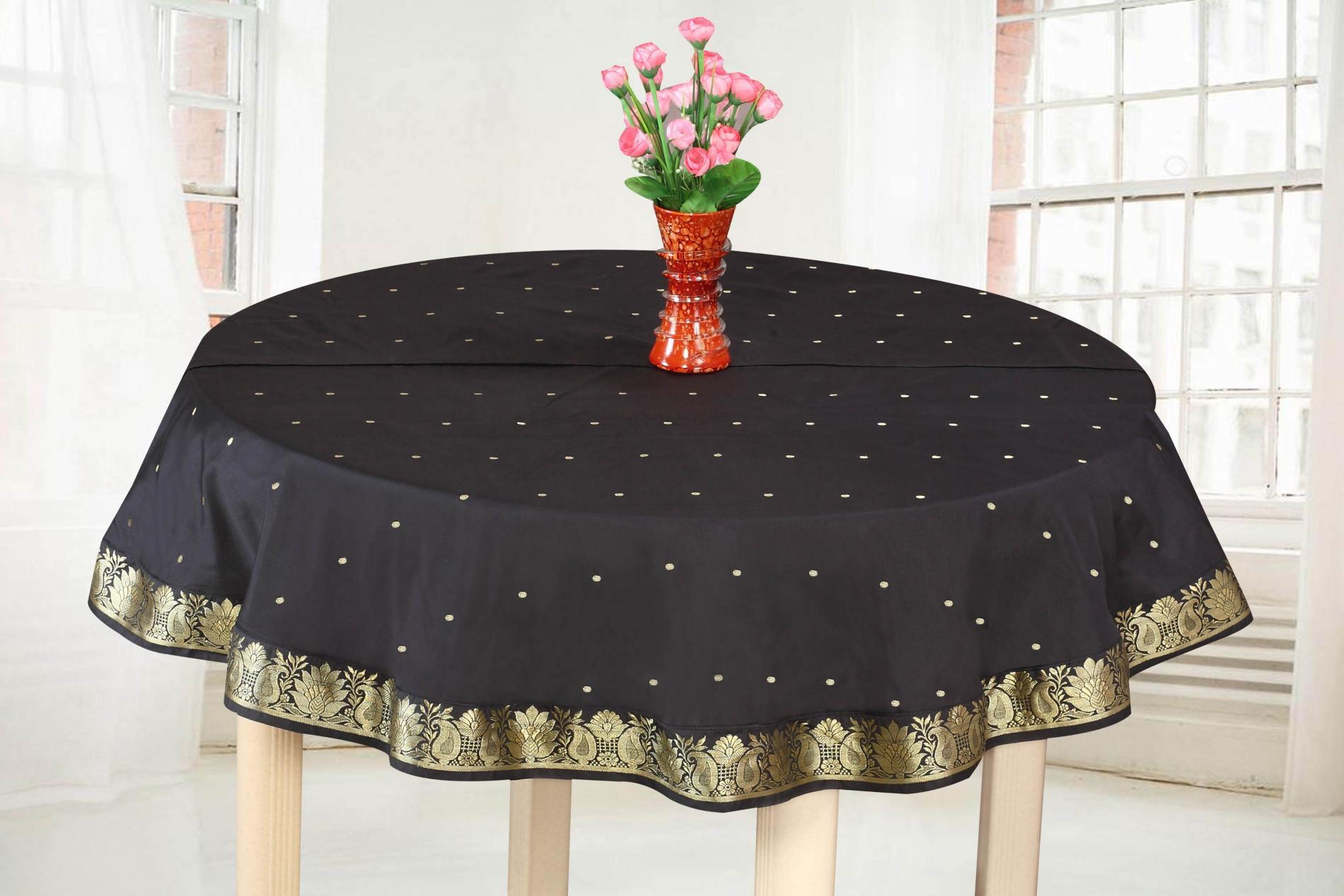 "Black Gold - Handmade Sari Oblong Tablecloth (India) -70"" Round"