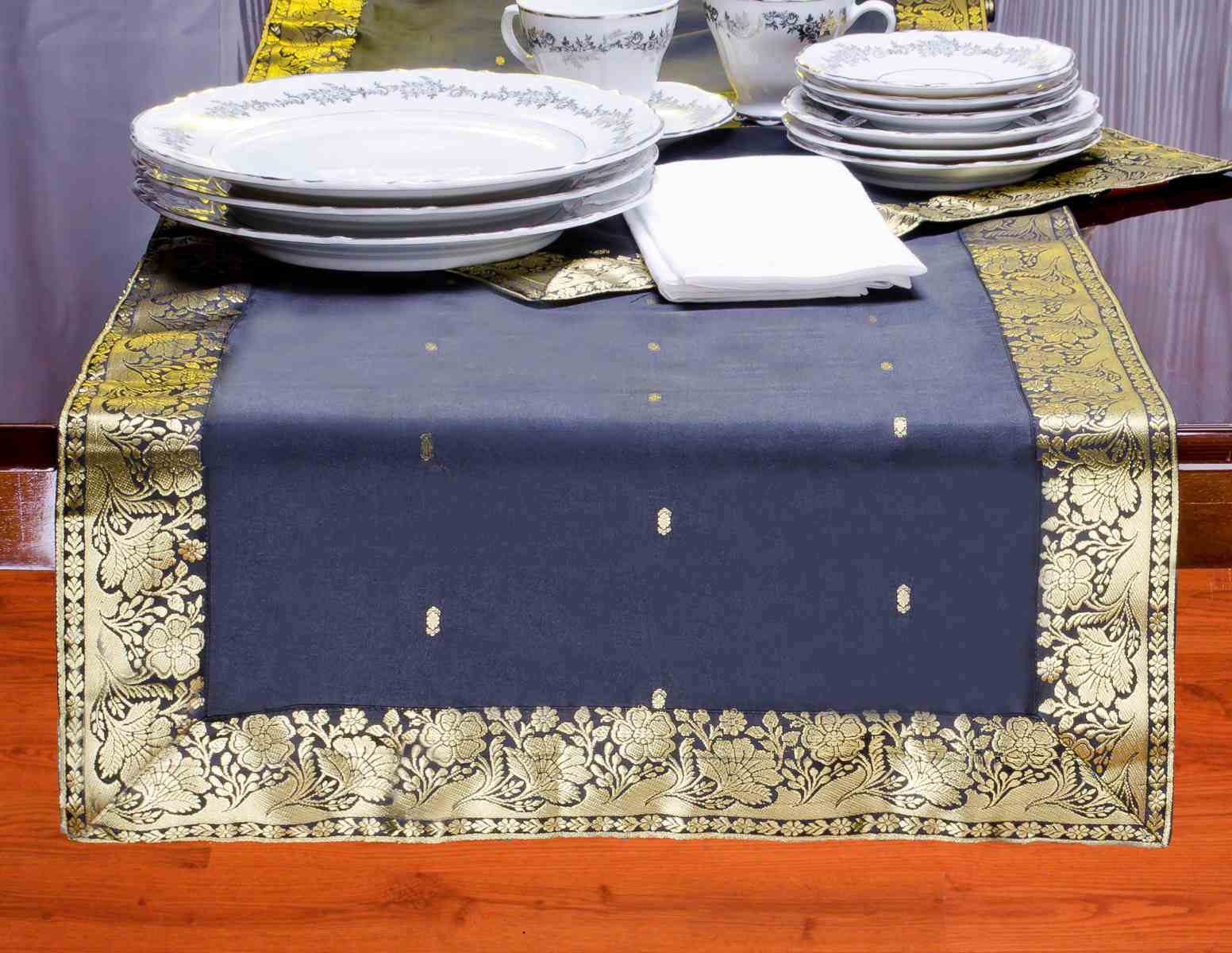 Black-Hand Crafted Table Runner (India)