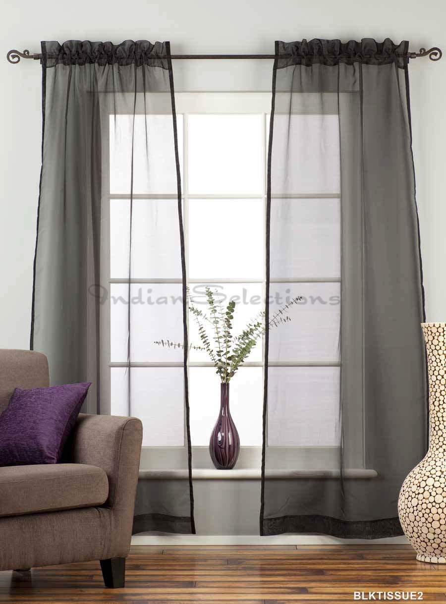 black rod pocket sheer tissue curtain panel drape. Black Bedroom Furniture Sets. Home Design Ideas
