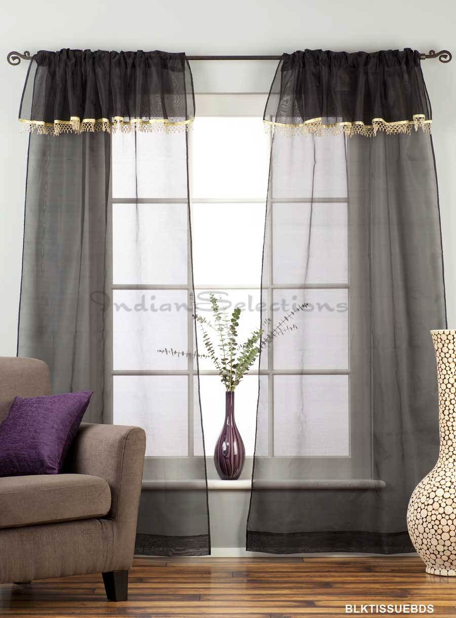 Black Rod Pocket W Attached Beaded Valance Sheer Tissue