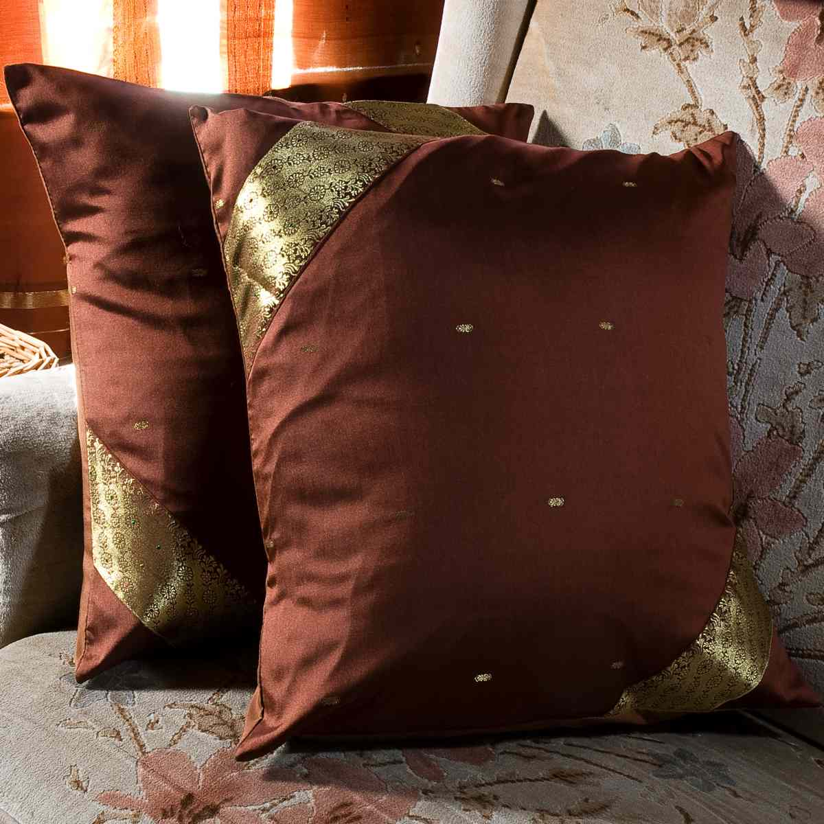 Indian Selections Brown-Decorative handcrafted Cushion Cover, Throw Pillow case Euro Sham-6 Sizes
