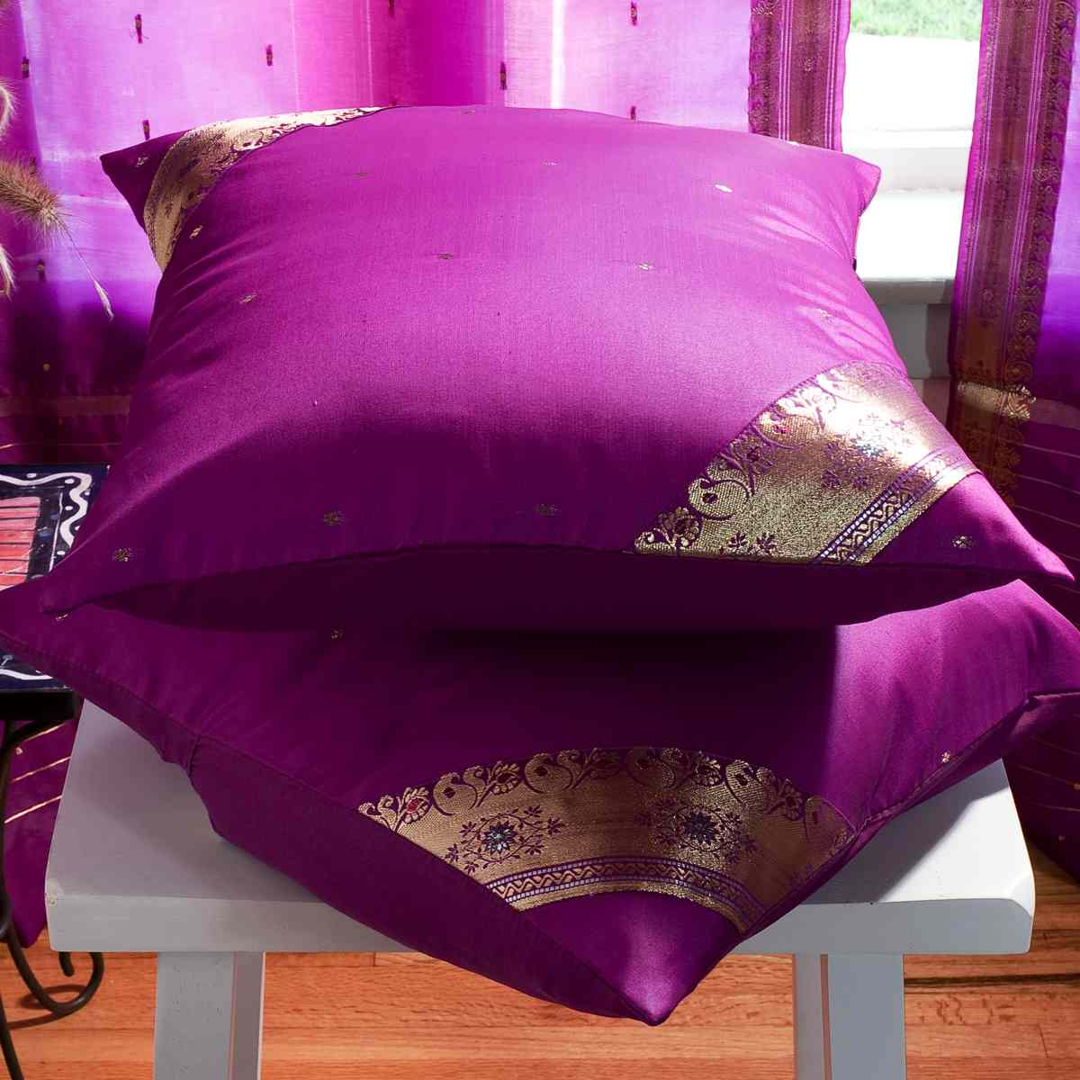 violet red handcrafted cushion cover throw pillow case euro sham 6 sizes ebay. Black Bedroom Furniture Sets. Home Design Ideas