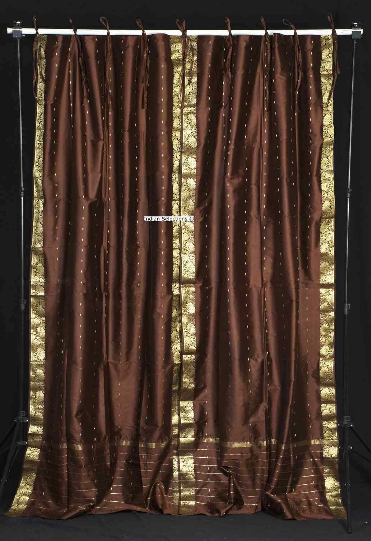 Indian Selections Brown Tie Top Sheer Sari Curtain / Drape / Panel - Pair