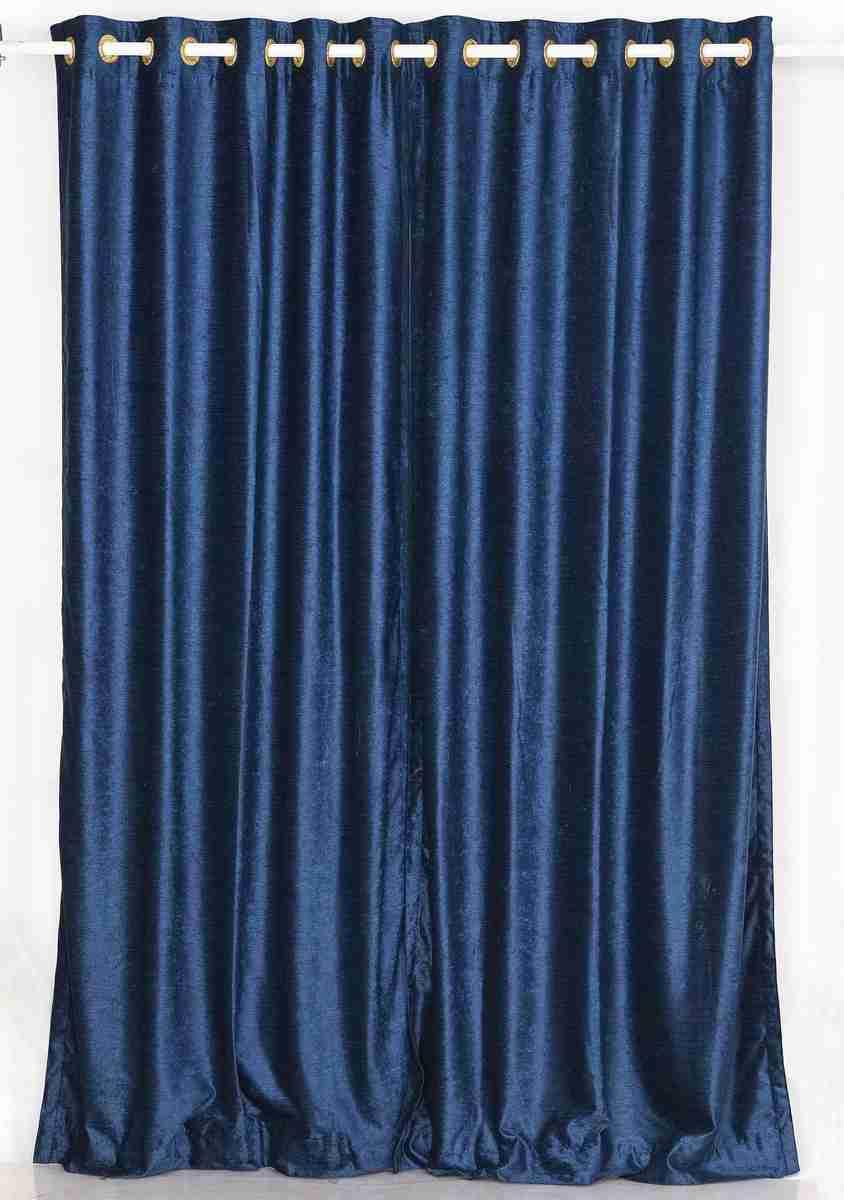Navy blue ring grommet top velvet curtain drape for Velvet material for curtains