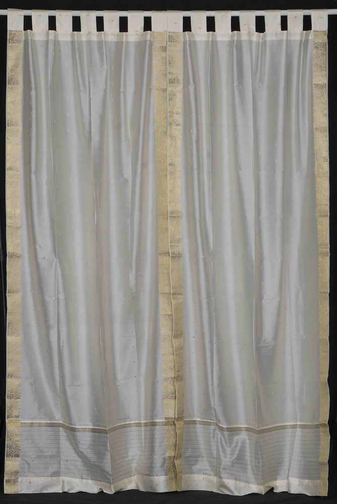 Indian Selections Cream  Tab Top  Sheer Sari Curtain / Drape / Panel  - Pair at Sears.com
