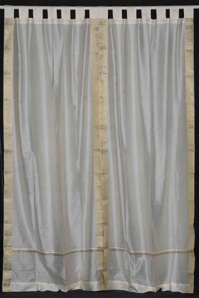 Indian Selections Cream  Tab Top  Sheer Sari Curtain / Drape / Panel  - Pair at Sears.com
