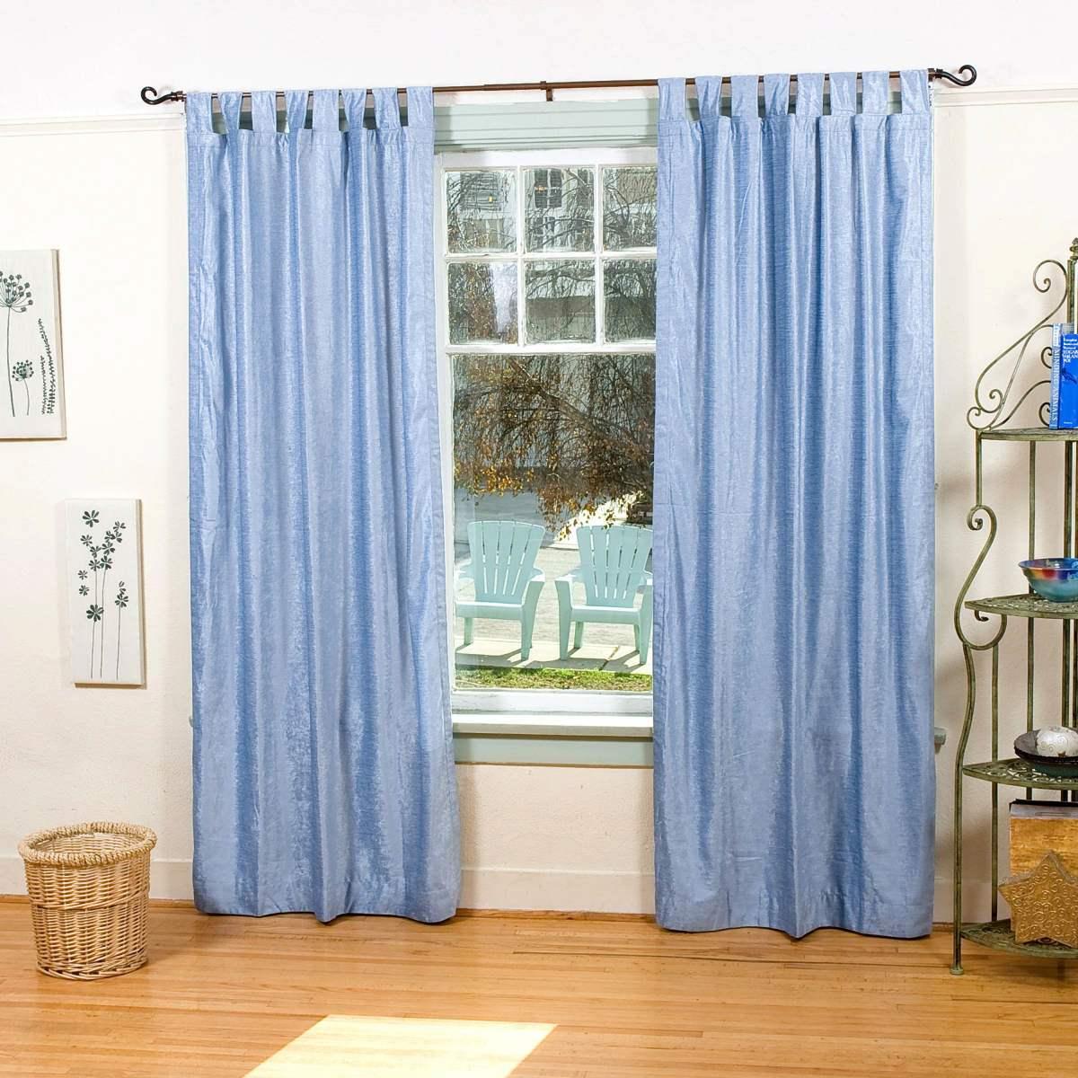 Light Blue Tab Top Velvet Curtain Drape Panel Piece