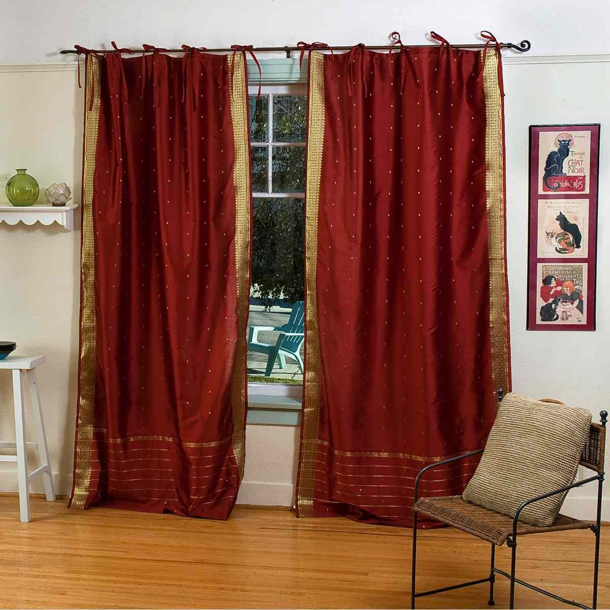 Rust Tie Top Sheer Sari Curtain Drape Panel Pair Ebay