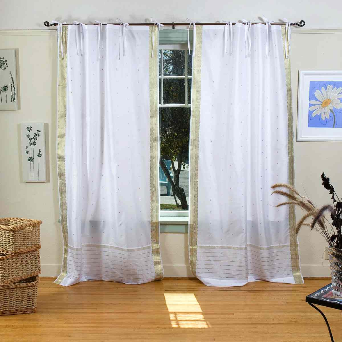 white with gold tie top sheer sari curtain drape panel piece ebay. Black Bedroom Furniture Sets. Home Design Ideas