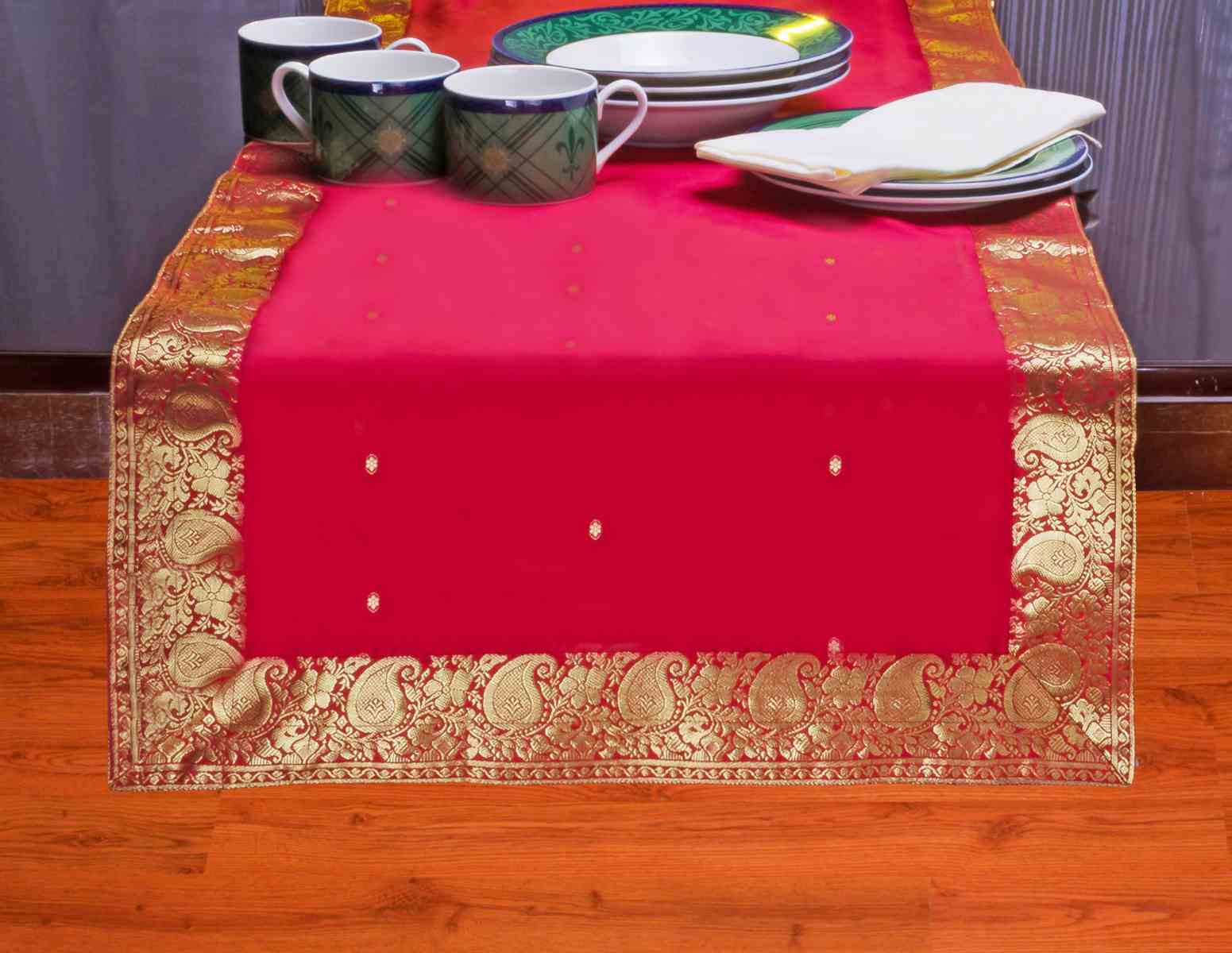 Fire Brick-Hand Crafted Table Runner (India) - 14 X 84 Inches