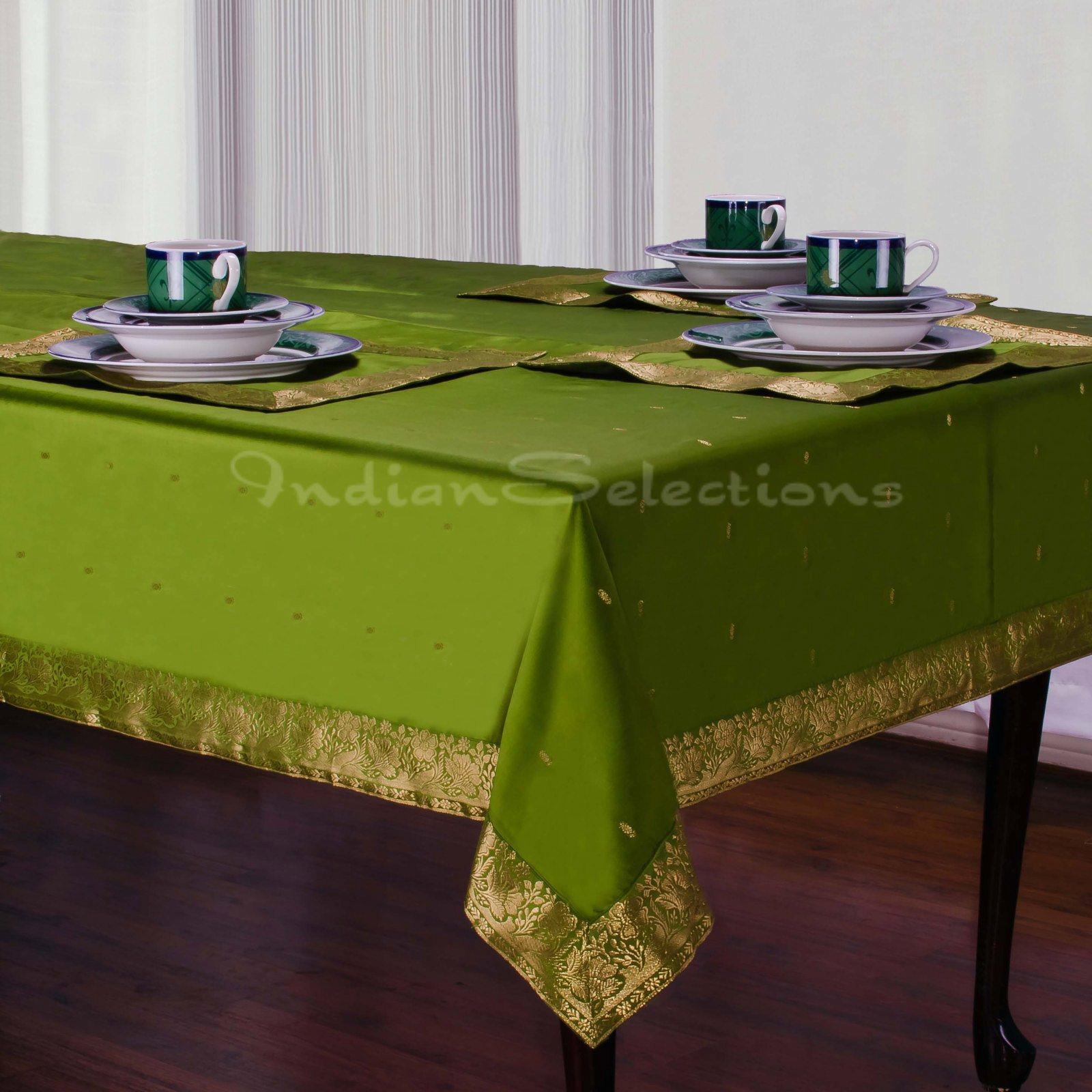 Table Cloth Green : Forest Green - Handmade Sari Tablecloth (India)  eBay