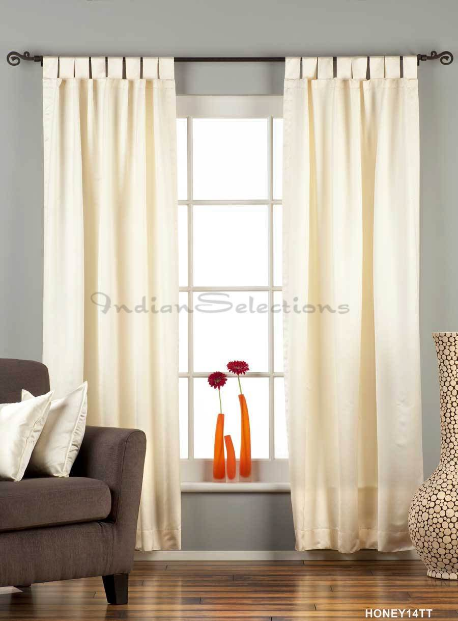 Indian Selections Cream Tab Top 90% blackout Curtain / Drape / Panel  - Piece at Sears.com