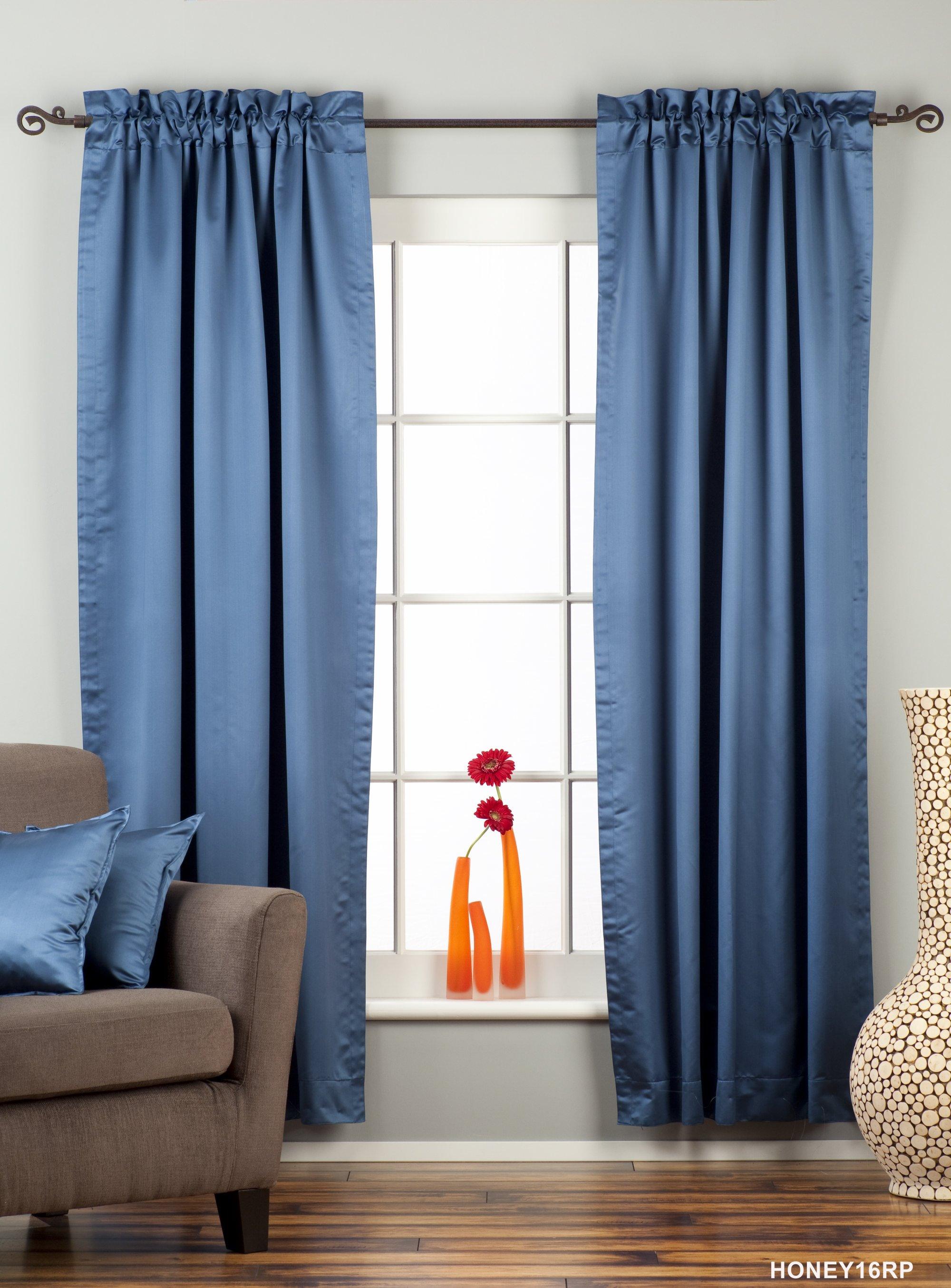 Blue Rod Pocket 90 Blackout Curtain Drape Panel Piece