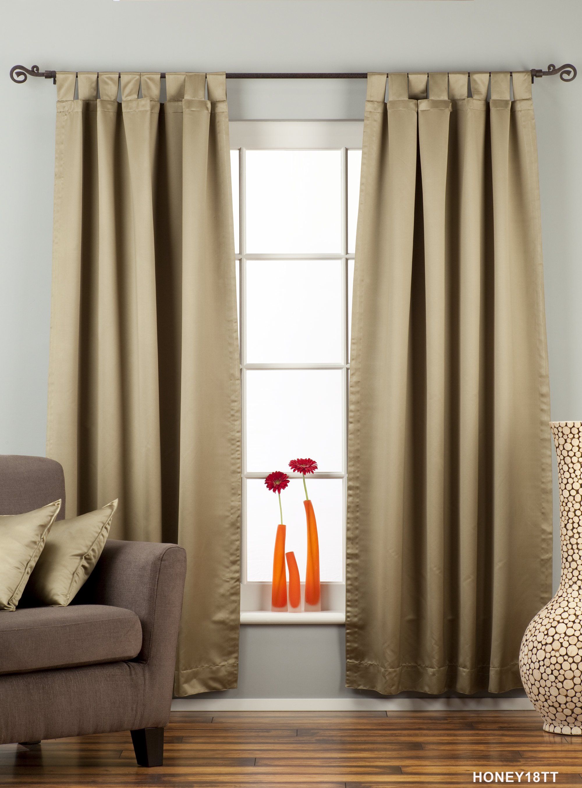 Olive green tab top 90 blackout curtain drape panel - Curtains for olive green walls ...