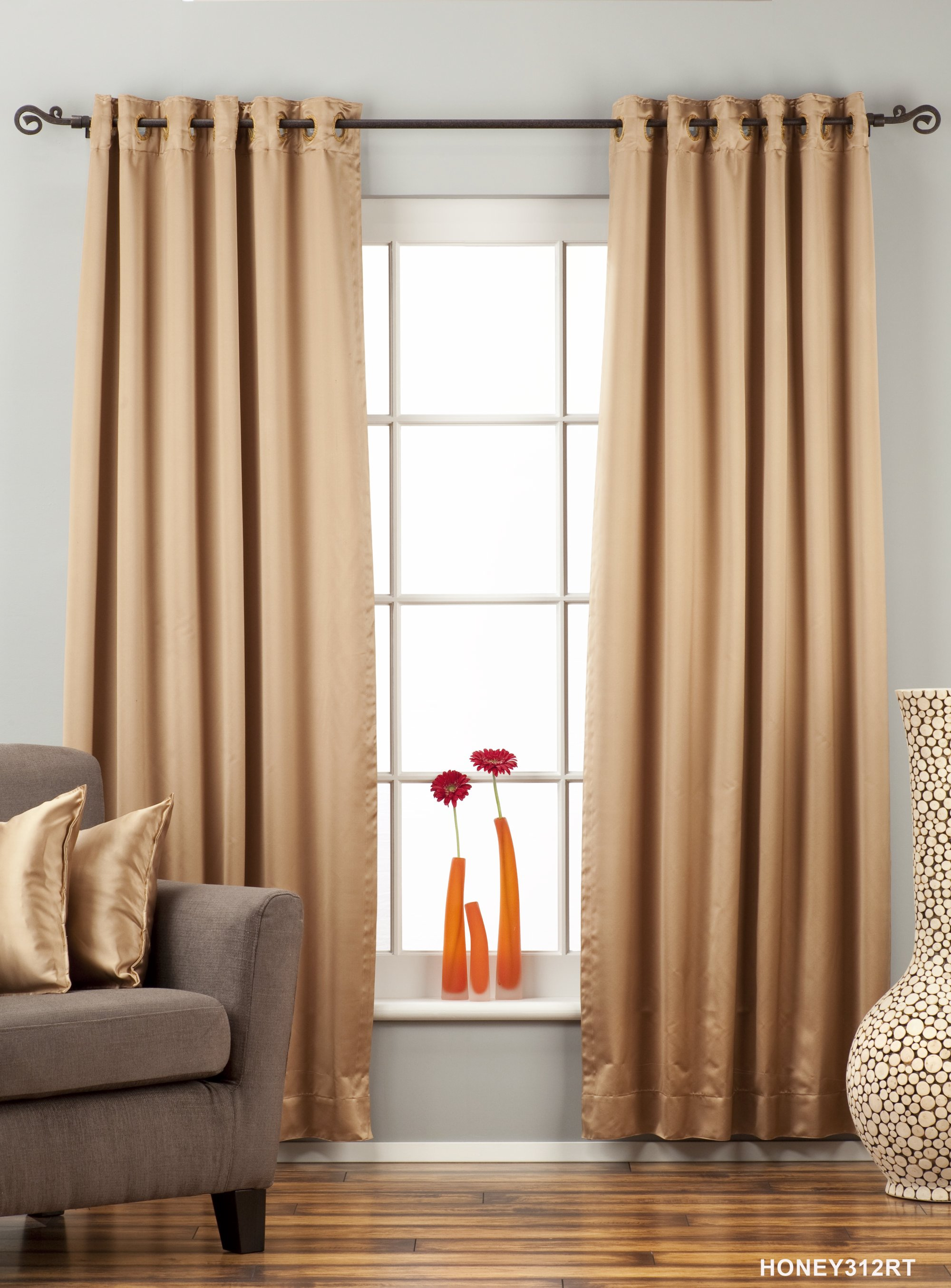 Taupe Ring Grommet Top 90 Blackout Curtain Drape