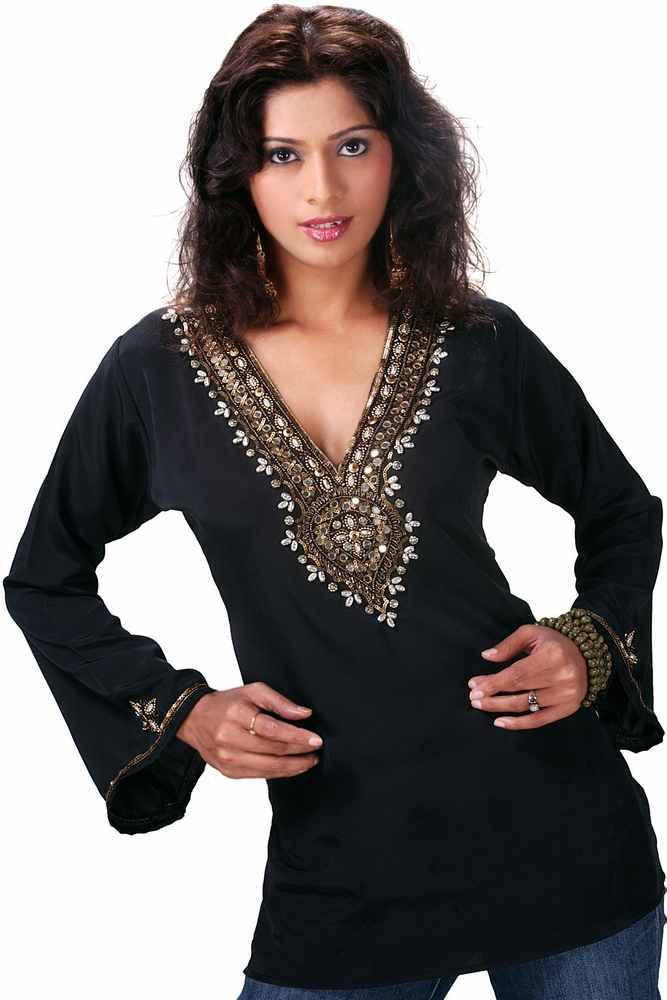 Black long sleeves KurtiTunic with designer bead work plus size,  plus size fashion plus size appare