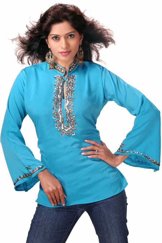 Indian Selections-Blue long sleeves KurtiTunic with designer bead work-Large plus size,  plus size fashion plus size appare