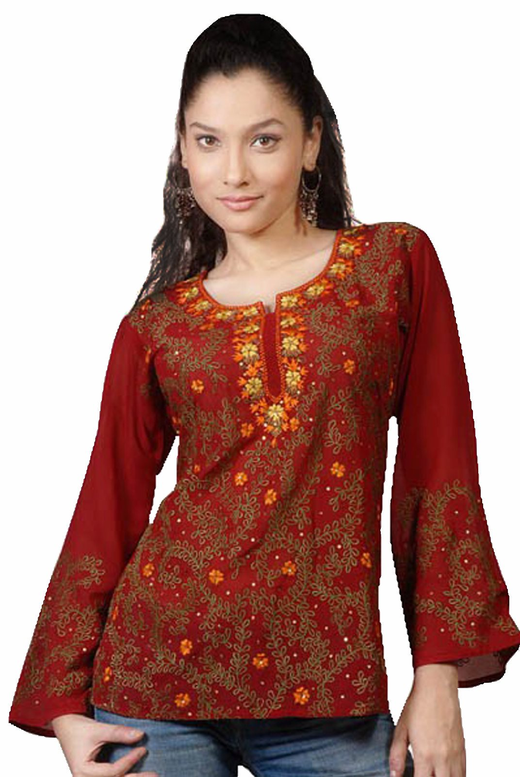 Spicy Burgundy long sleeves KurtiTunic w neckline handwork-Large plus size,  plus size fashion plus size appare