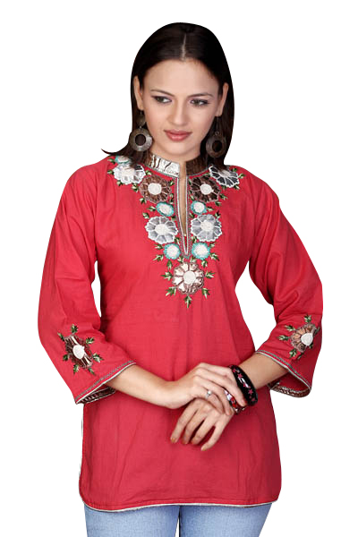 Fire Brick Cotton Kurti / Tunic with leather embroidery work