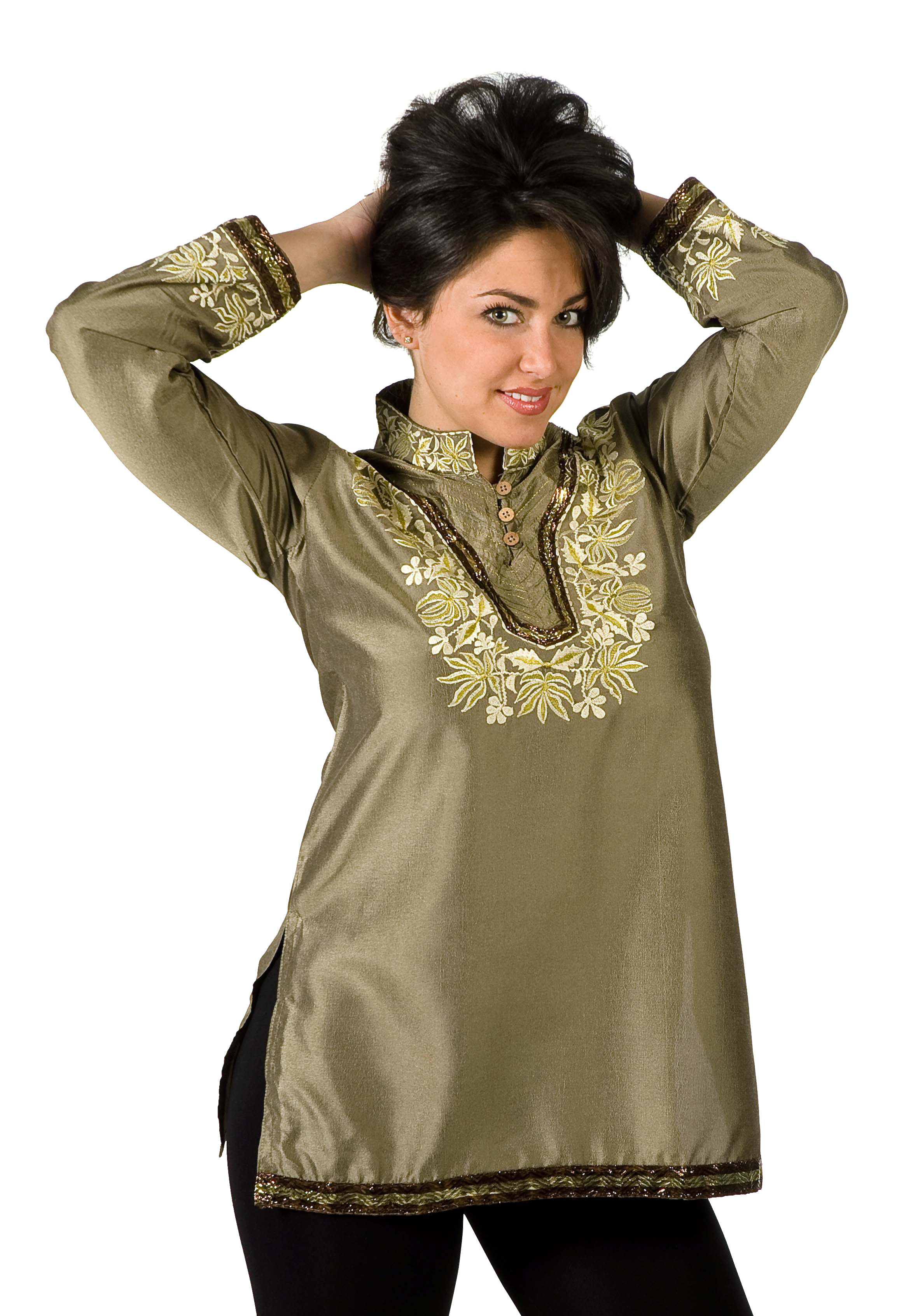 Henna Art silk KurtiTunic w thread embroidery and sequence work-Small plus size,  plus size fashion plus size appare