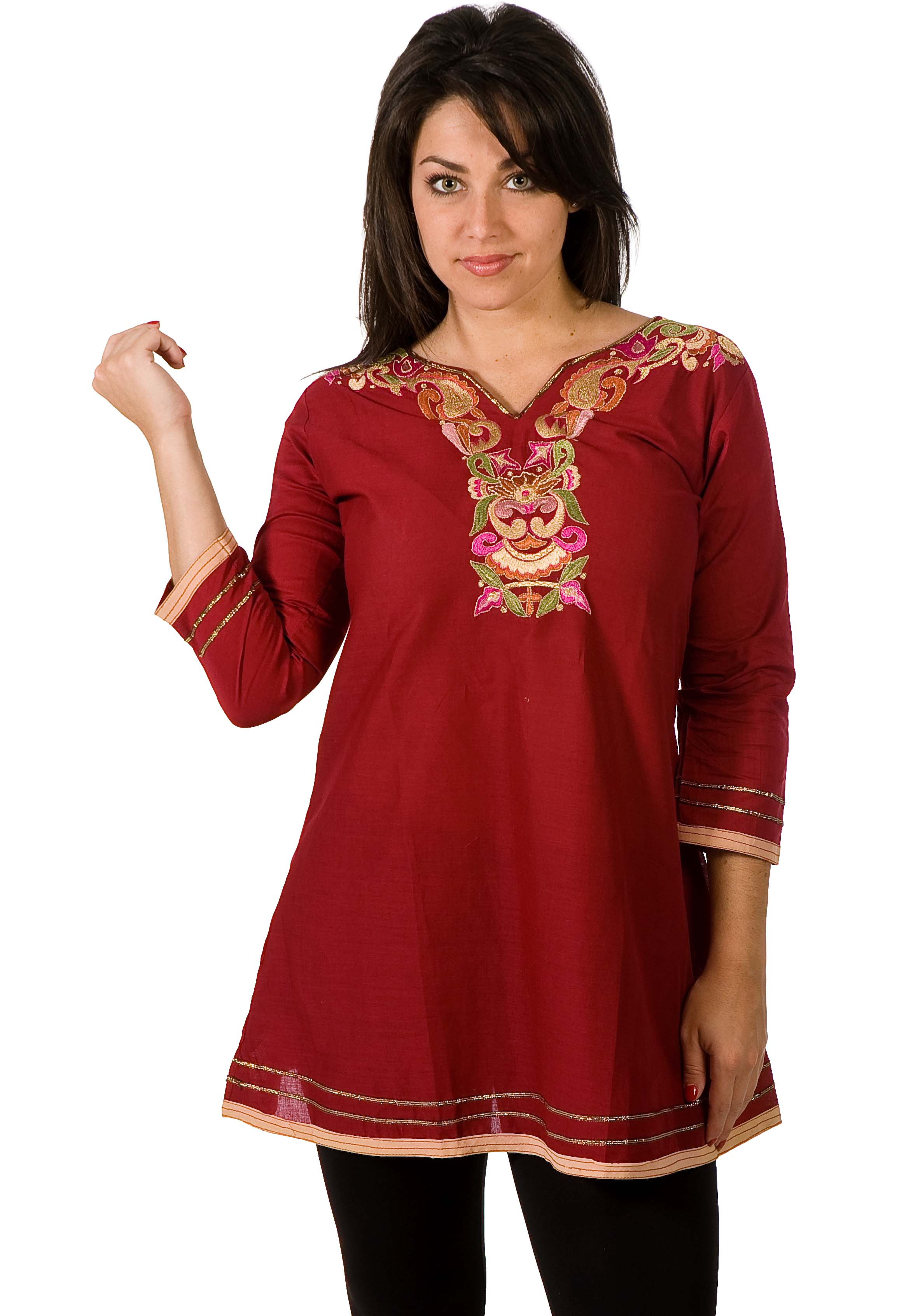 Cotton Kurti Tunic with neckline embroidery work plus size,  plus size fashion plus size appare