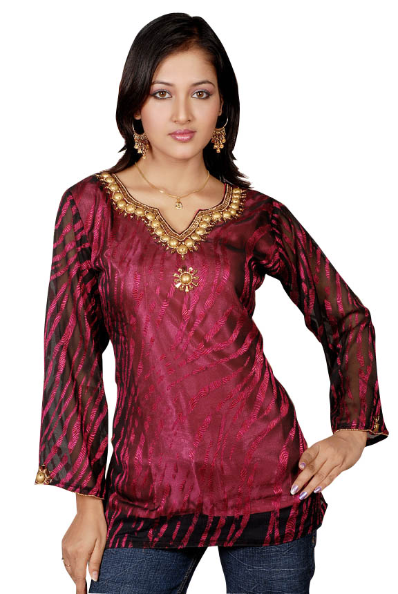 Indian Selections-Burgundy long sleeves KurtiTunic w designer bead work-Medium plus size,  plus size fashion plus size appare