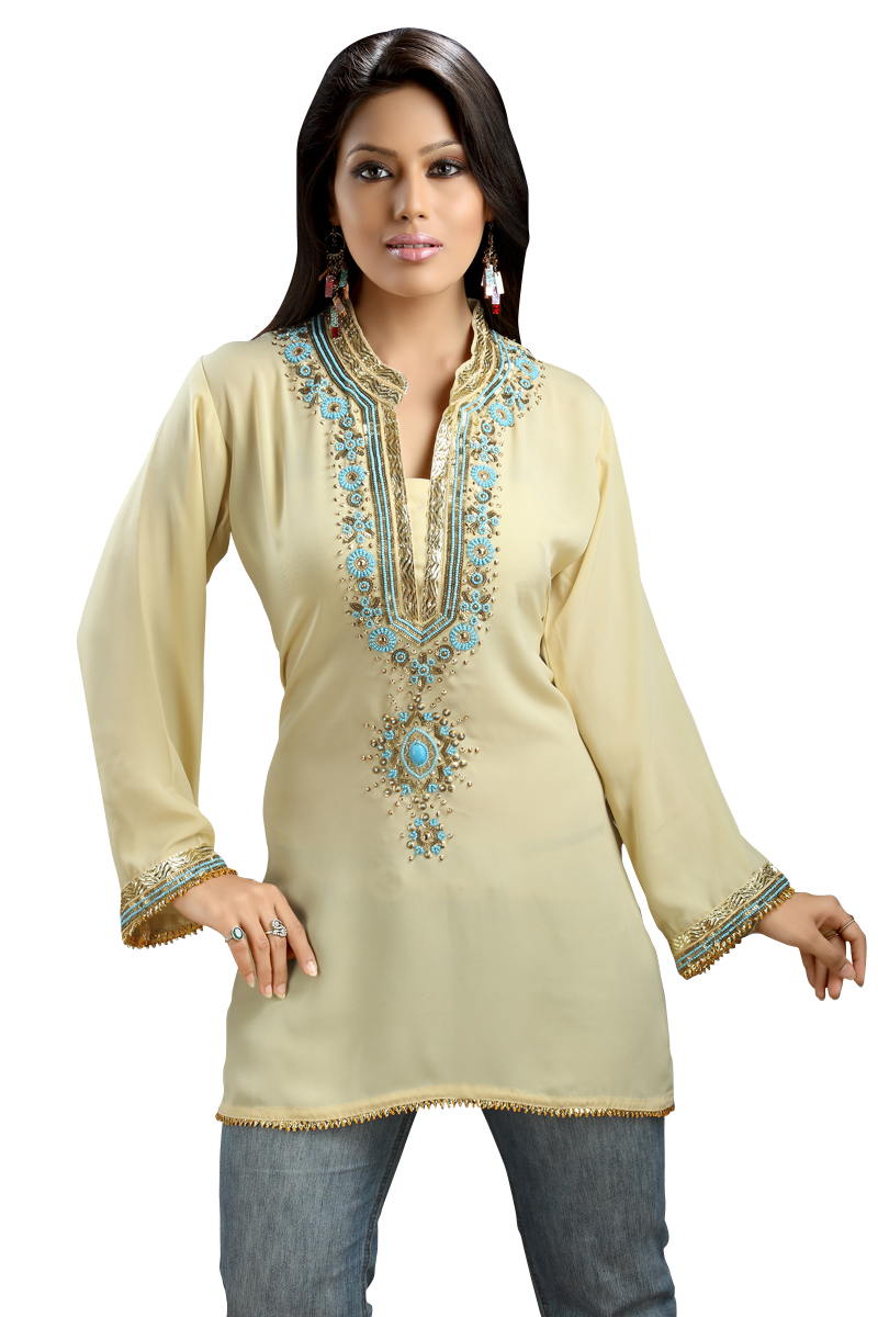 Indian Selections-Light Yellow Soft Crepe Kurti with bead and lace work-Medium