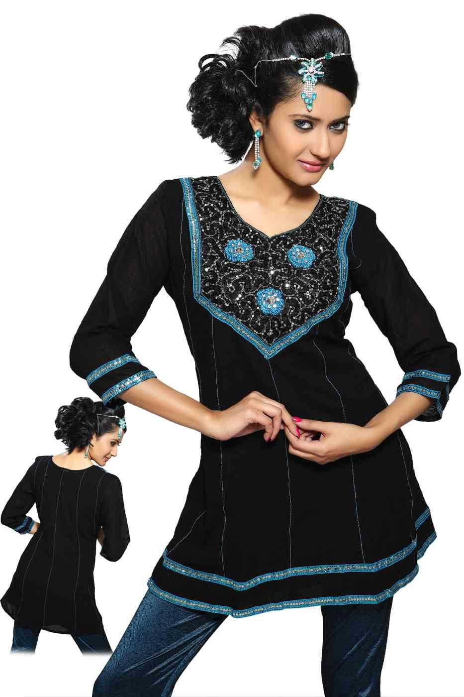 Black Kurti crushed georgette w ribbon worked neckline and lace borders-Large