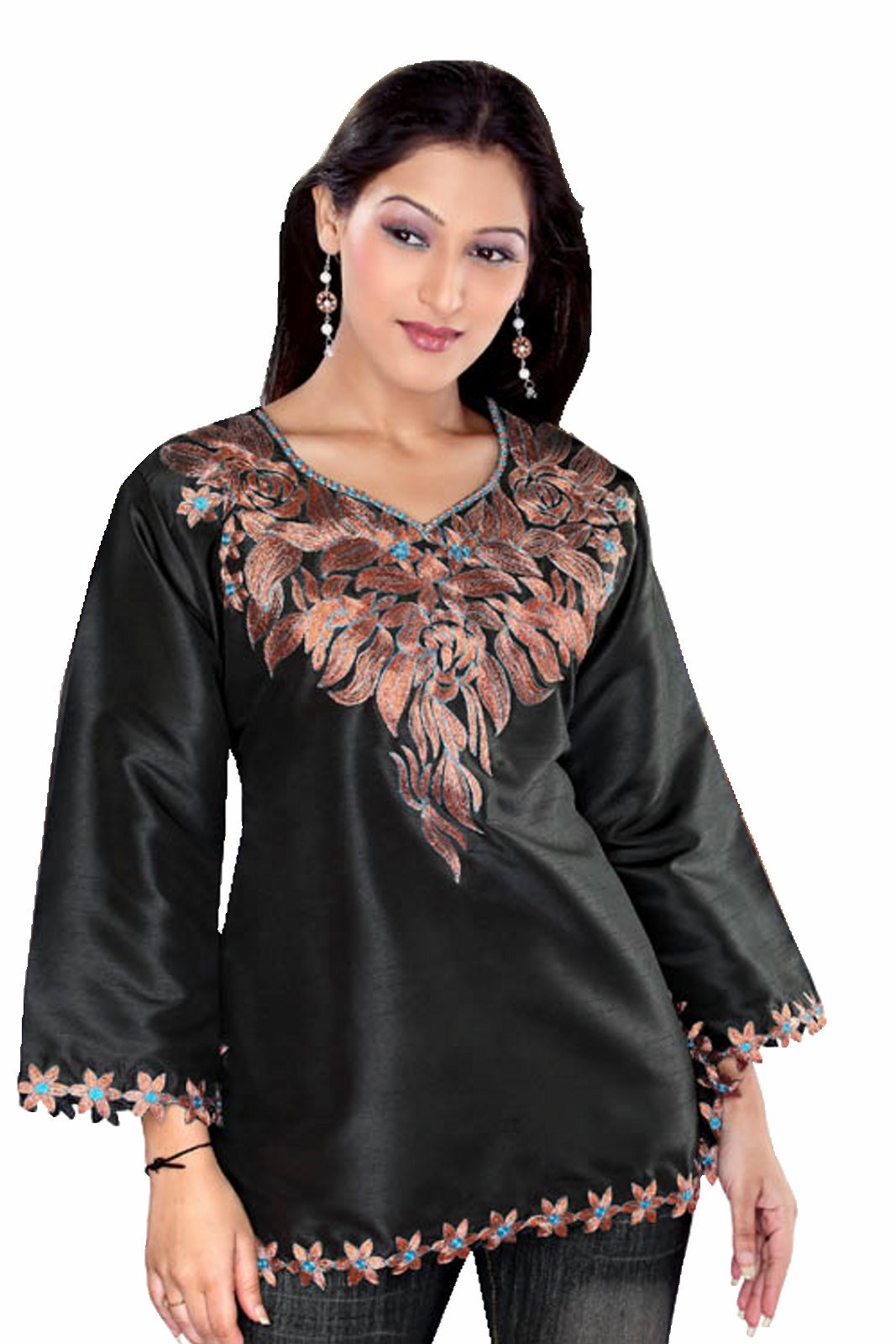 Black long sleeves Art silk KurtiTunic w embroidered neckline-Medium plus size,  plus size fashion plus size appare