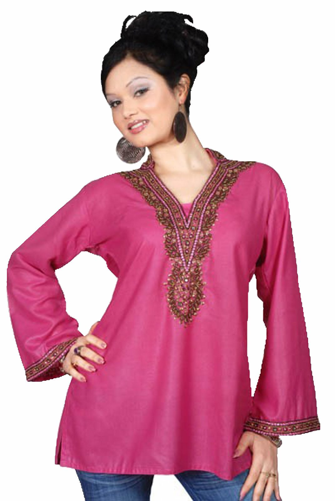 Indian Selections-Pink long sleeves KurtiTunic with beads and stone work-Large plus size,  plus size fashion plus size appare