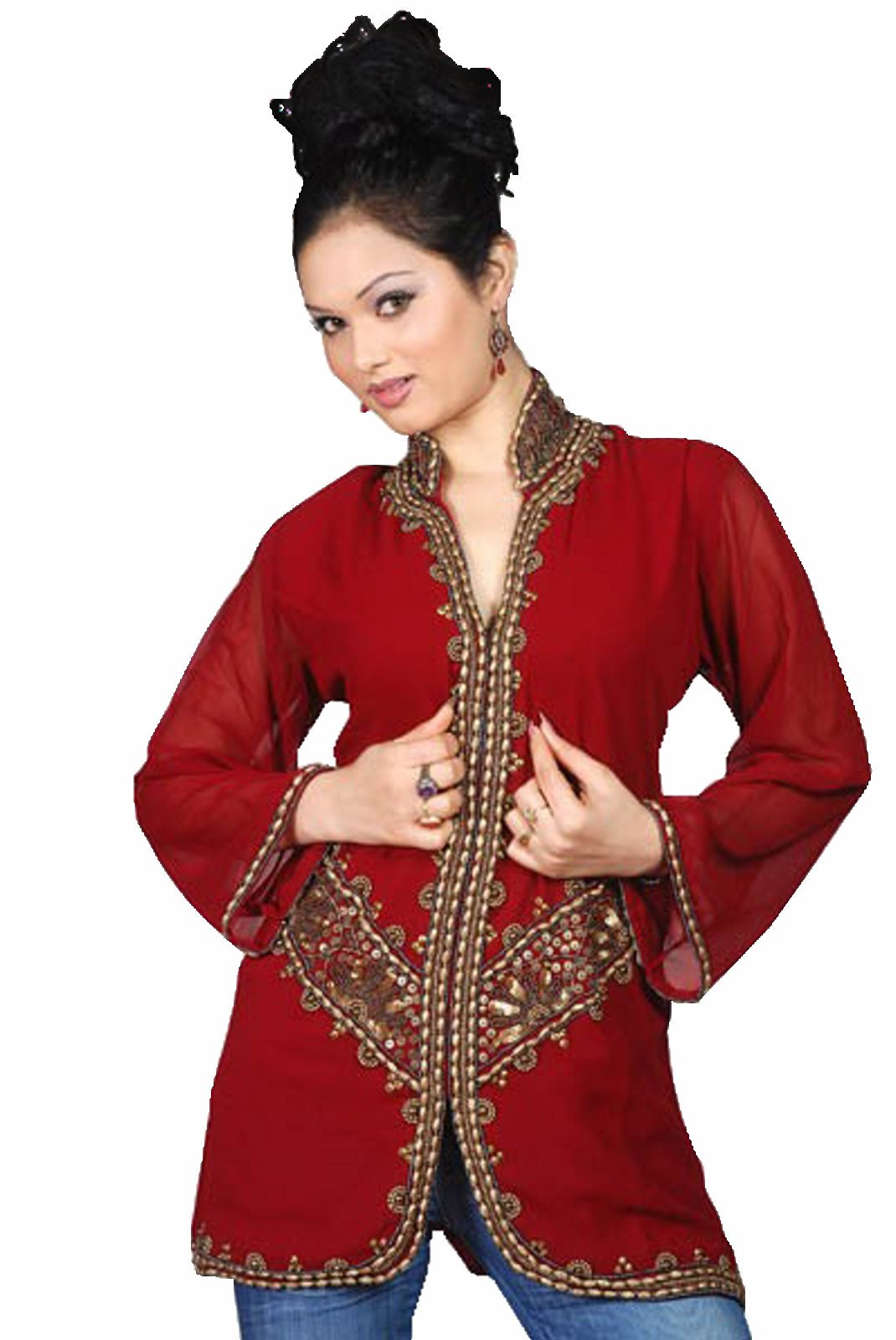 Burgundy long sleeves KurtiTunic w jacket style beadwork-Large plus size,  plus size fashion plus size appare