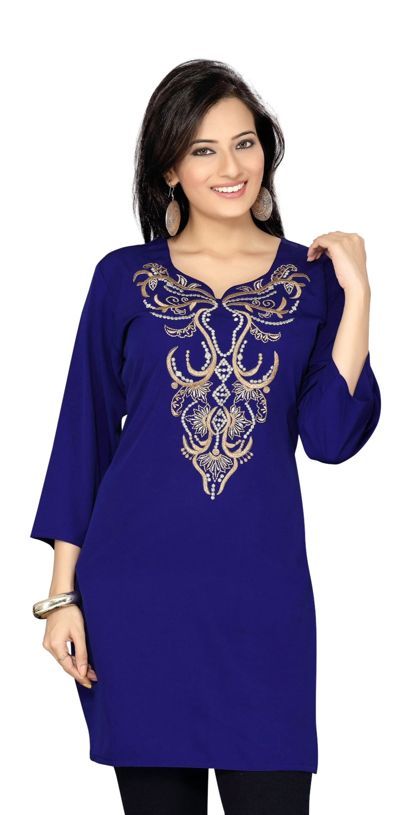 Navy Blue Crepe Kurti Tunic with thread Zari emroidery-Large plus size,  plus size fashion plus size appare