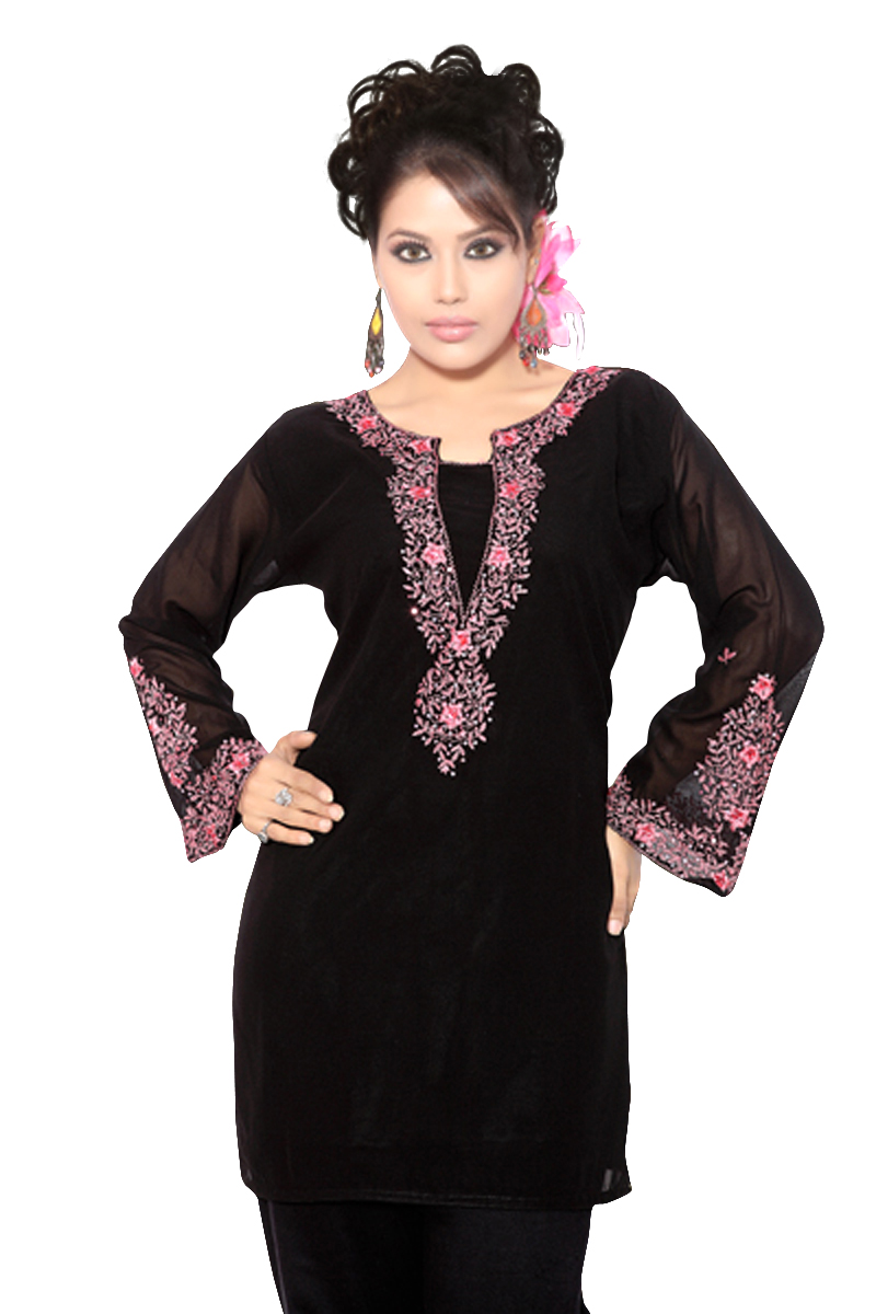 Indian Selections Black long sleeves KurtiTunic w designer embroidery-X-Large plus size,  plus size fashion plus size appare