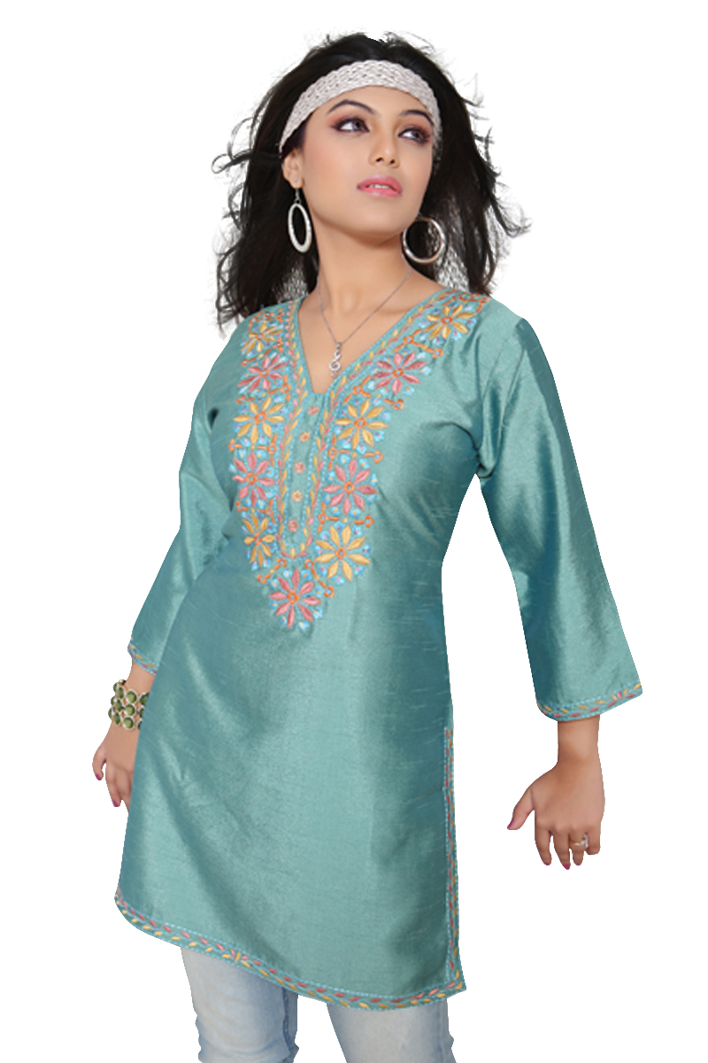 Island Green 34-sleeve Kurti Tunic w Designer Embroidery (India)-Medium plus size,  plus size fashion plus size appare
