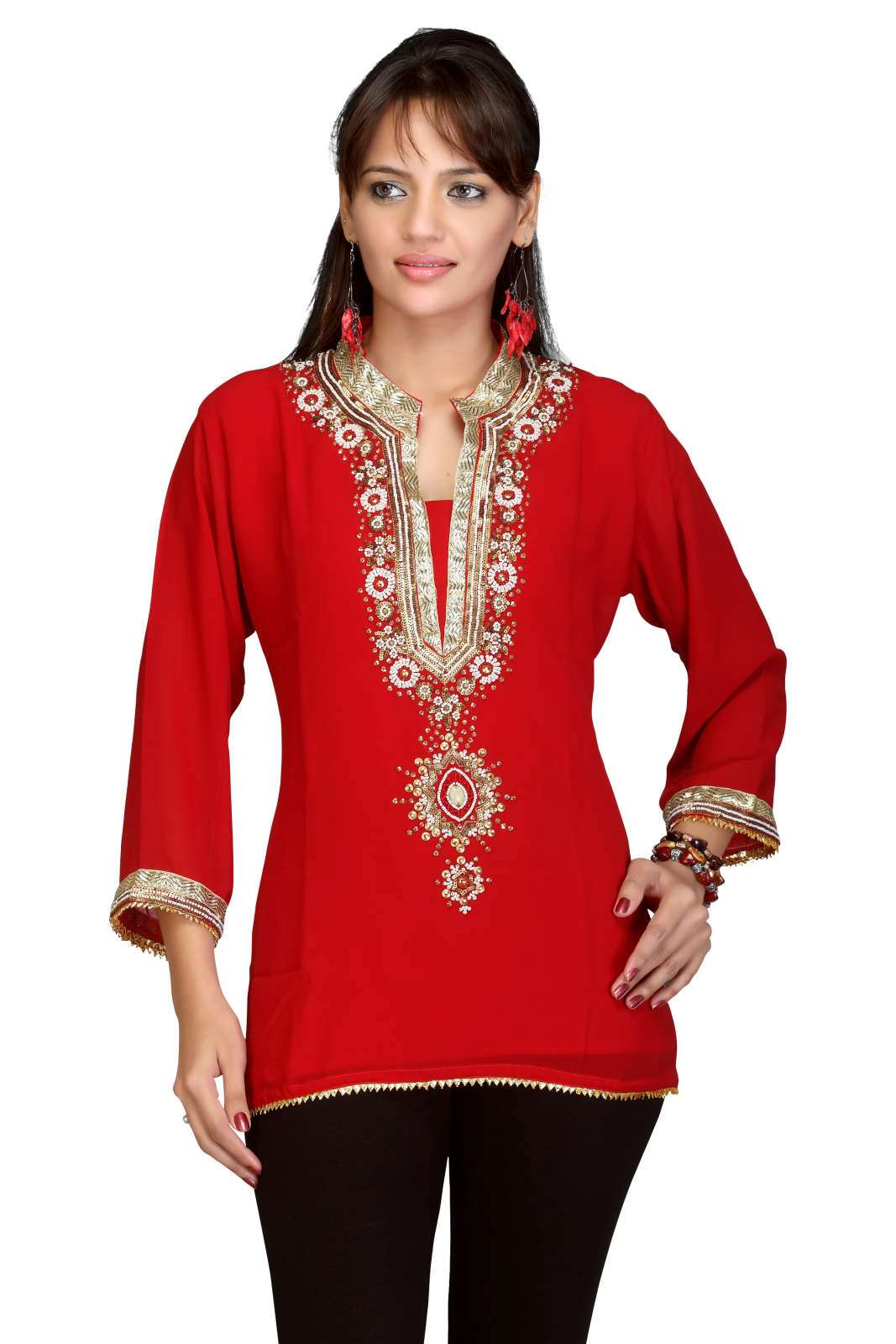 Red Georgette 34 sleeves KurtiTunic with bead and lace work plus size,  plus size fashion plus size appare